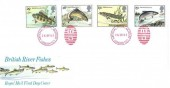 1983 British River Fish, Royal Mail FDC, I.E.W National Postal Museum London EC1 (Red) H/S