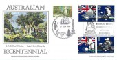 1988 Australian Bicentenary, Stan Muscroft Official FDC, Captain James Cook Birthplace Museum Marton in Cleveland Middlesbrough H/S, Double dated with Kurnell NSW H/S