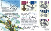 1990 Gallantry, RFDC 87 FDC, 50th Anniversary of the Battle of Britain Biggin Hill Westerham Kent H/S, Signed by 8 George Cross Holders
