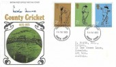 1973 County Cricket Centenary, Post Office FDC, Ipswich Suffolk FDI, Signed by Les Ames of Kent & England