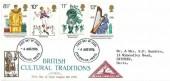 1976 , British Cultural Traditions, North Herts. Stamp Club FDC, Stevenage Herts. FDI