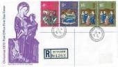 1970 Christmas, Registered Post Office FDC, Bethlehem Llandeilo Carmarthenshire cds