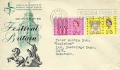 1963 Freedom from Hunger, BPA / PTS 1951 Festival of Britain FDC, Freedom From Hunger Week 17-24 March Bath Slogan