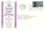 1965 Joseph Lister, National Fund for Research FDC, 4d stamp only, Paddington First Day of Issue slogan