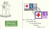 1963 Red Cross Centenary, Pair of Express Delivery Burke Family crest FDC, Silver Street Upper Edmonton (101) N18 cds