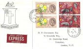 1963 National Nature Week, Express Delivery Burke Family crest FDC, Silver Street Upper Edmonton (101) N18 cds