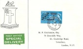 1963 Commonwealth Cable (Compac), Express Delivery Burke Family Crest FDC, Silver Street Upper Edmonton (101) N18 cds