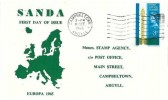 1965 Post Office Tower, Sanda Europa 1965 FDC, 3d Ordinary stamp only, Campbeltown Argyll Cancel, Sanda Island Local stamps on the back