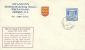 1944 Guernsey Arms 2½d Blue, Swanson's Chelsea Boarding House FDC, Guernsey Channel Islands cds