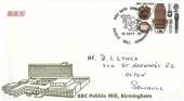 1972 BBC, BBC Pebble Mill Birmingham FDC, 3p BBC stamp only, BBC50th Anniversary Pebble Mill Birmingham H/S