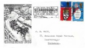 1966 Christmas, Stuart Monochrome FDC, For Work and Play Scarborough Sites & Labour Available for Light Industry Slogan