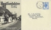 1950 King George VI Definitive Issue 4d Light Ultramarine, Hertfordshire for your Holiday FDC, High Street Berkhamsted Herts. cds