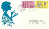 1963 Freedom From Hunger, Blue Child Illustrated FDC, Freedom From Hunger Week 17 - 24 March 1063 London WC Slogan
