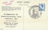 1957 Parliamentary Conference, Houses of Parliament Colour Postcard FDC, 46th Parliamentary Conference London SW1 H/S