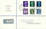 1967 3d, 9d, 1/6d Machin QEII Definitive Issue+ Wilding issue being replaced, Registered Plain FDC, Denton Newcastle on Tyne cds