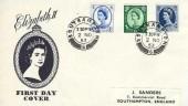 1953, QEII Wilding Definitive Issue, 4d, 1/3d, 1/6d  J Sanders FDC, Southampton 6 cds