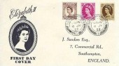 1953, QEII Wilding Definitive Issue, 5d, 8d, 1/-  J Sanders FDC, Southampton 3 cds