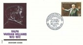 1972 General Anniversaries, Philart Souvenir FDC, 9p Ralph Vaughan Williams stamp only, Vaughan Williams Centenary Down Ampney Gloucestershire H/S