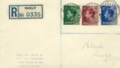 1936 King Edward VIII ½d, 1½d, 2½d Definitive Issue, Registered Cacheted FDC, Ruislip Middlesex cds