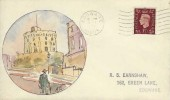 1937 1½d Brown King George VI Definitive Issue, AJS Hand Painted Round Tower Windsor Castle FDC, Edgware Middx Cancel