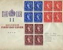 1953 ½d, 1d, 2d, Wildlings, Blocks of 4 QEII Definitive Issue, Souvenir FDC, Cheadle Hume Cheshire cds