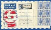 1950 4d Light Ultramarine, Control Block of 6, Registered Philatelic Magazine London Air Mail FDC, Stoke Road Gosport Hants cds