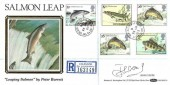 1983 British River Fish, Registered Benham BLS1A FDC. The Salmon Leap Coleraine Co Derry cds, Signed by Actor John Cleese