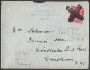 1915 George V Cover tied large Cross Dumb Cancellation, Passed by Shop's Censor No.1 Cachet in Green, Applied on HMS Lion Battle Cruiser. To Wimbledon SW London