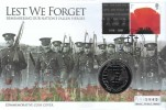 2008 Lest We Forget Remembering Our Nation's Heroes Commemorative Coin Cover, 90th Anniversary of the World War I London SW1, Gibraltar One Crown Lest We Forget Coin