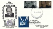1965 Sir Winston Churchill,  WSC Karsh of Ottawa FDC, Cardiff FDI, Double dated with 1995 25p Victory in Europe stamp, 50th Anniversary Victory in Europe Buckingham Palace London SW1 H/S
