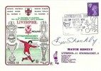 1974 Liverpool v Stromsgodset Drammen Norway First Round European Cup Dawn Football Cover. Signed by Then Liverpool Manager Bill Shankly