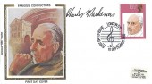 1980 British Conductors, Colorano Silk FDC, 13½p Thomas Beecham stamp only, First Day of Issue London SW H/S, Signed by Charles Mackerras