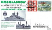 1999 Berlin Airlift, £1.04 Label, Official Royal Naval Group FDC, HMS Glasgow Damaged in the Attack off Port Stanley Operation Corporate Portsmouth Hampshire H/S. Signed Rear Admiral Paul Hoddinott Captain OBE