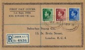 1936 King Edward VIII ½d, 1½d, 2½d Definitive Issue, Registered Suburban Stamp Co. Display FDC, Registered Ludgate Circus EC4 Oval cds