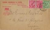 1912 Commercial Chas. Ramsey & Son The Royal Nurseries Cover to Lyon France, Ballsbridge DO Dublin cds
