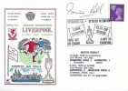 1973 League Champions & UEFA Cup Winners Liverpool FC Cover, Liverpool FC 10 Years in Europe Liverpool H/S, Signed by Brian Hall