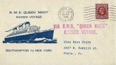 1936 Illustrated. RMS Queen Mary Maiden Voyage Cover, London SW1 Cancel