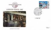 1987 British Architects in Europe, Pilgrim Philatelics Venice Simplon Orient Express FDC, 22p Stamp only, London - Venice Simplon Orient Express Folkestone H/S