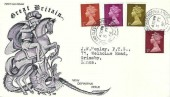 1968, QEII Definitive Machin Issue ½d,1d, 2d, 6d, MB George & the Dragon Illustrated FDC, Grimsby & Cleethorpes Lincs. cds