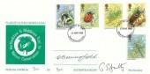 1985 British Insects, Hertfordshire & Middlesex Trust for Nature Conservation FDC, Hemel Hempstead Herts. FDI, signed by Gordon Benningfield Stamp Designer