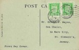 1942 Jersey Arms ½d Green pair on Albert Smith 829 Jersey St Owen's Manor Postcard, Jersey Channel Islands cds