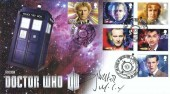 2013 Doctor Who, Buckingham Cover Official FDC, Featuring 6 Doctor Who stamps from the set of 11, 50 Years of Doctor Who Cardiff H/S, Signed by Sylvester McCoy the 7th Doctor
