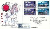 1967 European Free Trade Area (EFTA), Registered Stuart FDC, Buckingham Palace SW1 cds