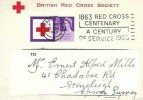 1963 Red Cross Centenary, British Red Cross Society Postcard FDC, 6d stamp only. 1863 Red Cross Centenary a Century of Service 1963 London SW1 Slogan