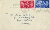 1951 Festival of Britain, Plain Postcard FDC, New Malden Surrey Cancel