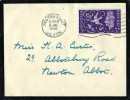 1946 Victory, Mourning Cover FDC, 3d stamp only, Newton Abbot Devon Cancel