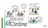 1978 Cycling Centenary, Post Office FDC, Diver Mind that Bike Sussex Coast Slogan
