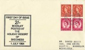 1964 2s Holiday Booklet Se-Tenant Pane, Posted at the Holiday Resort of Skegness FDC, Skegness Lincs.cds
