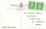 1942 Jersey Arms ½d Green pair,  Beresford Street Jersey Postcard, Jersey Cancel