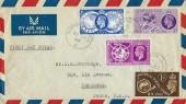 1949 Universal Postal Union, Air Mail  to Texas USA FDC, Ulverston Lancs. cds, Flown by B.O.A.C